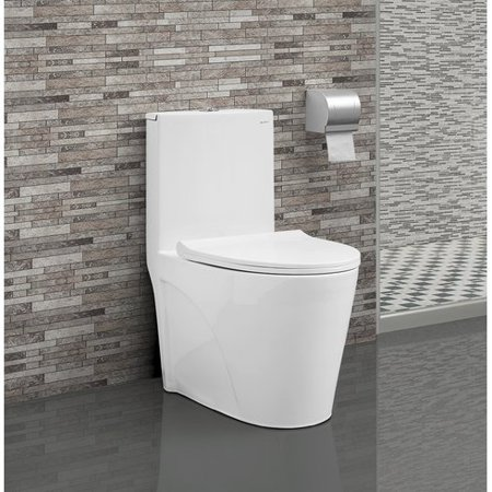 Swiss Madison SM-1T254 St. Tropez One Piece Elongated Dual 0.8/1.28  GPF Flush Toilet with Soft Closing Seat