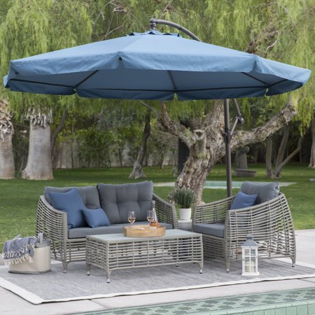 Steel Offset Patio Umbrella With Detachable Netting