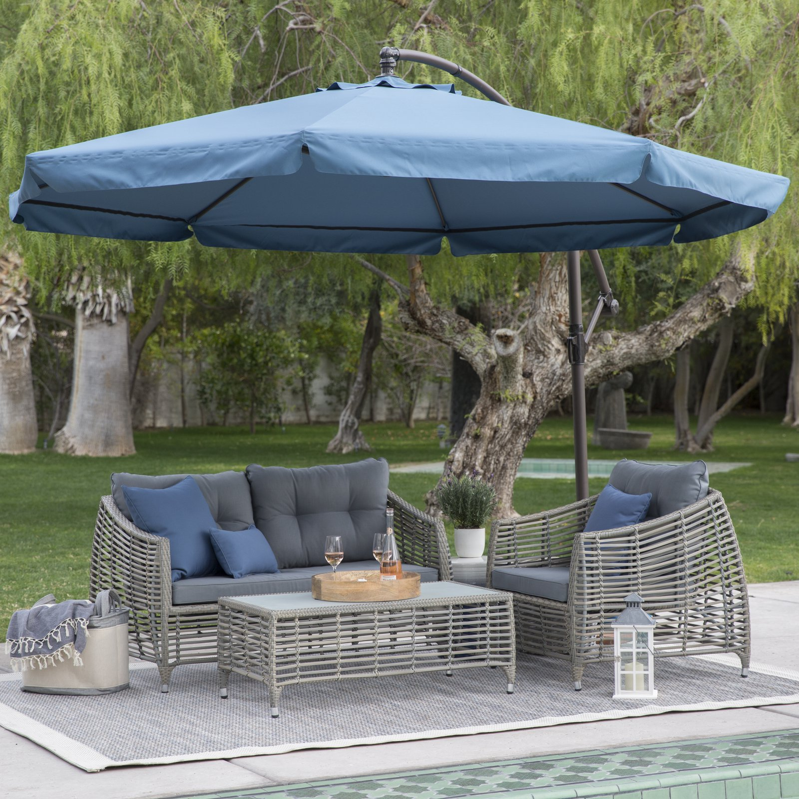 Coral Coast 11 ft. Steel Offset Patio Umbrella with Detachable Netting