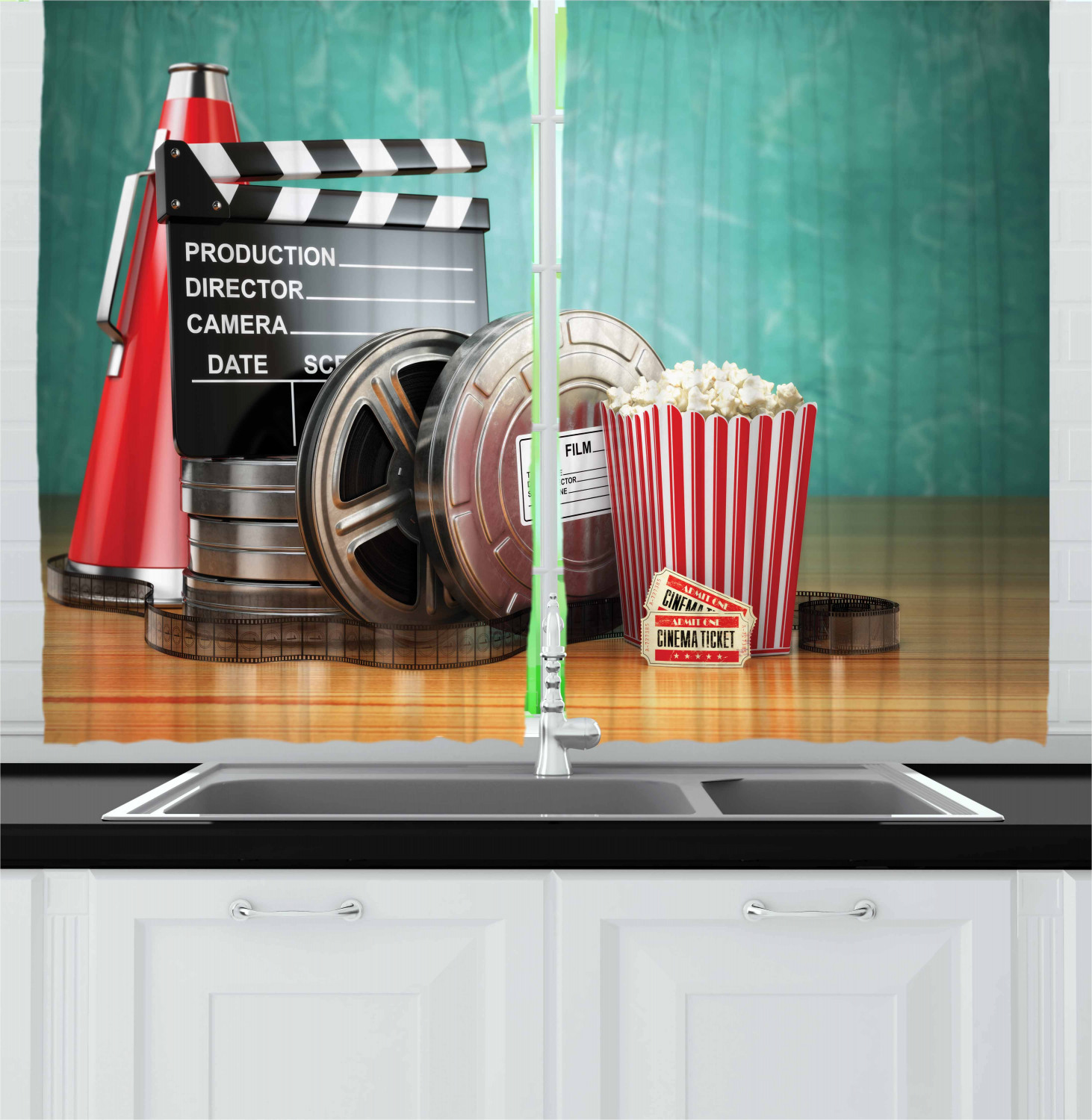 Movie Theater Curtains 2 Panels Set Production Theme 3d Film Reels Clapperboard Tickets Popcorn And Megaphone Window Drapes For Living Room Bedroom 55w X 39l Inches Multicolor By Ambesonne Walmart Com