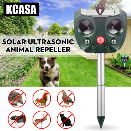 1/2Pcs KCASA Garden Solar Ultrasonic Animal Repeller Pest Bird Dog Cat Rat Ultrasonic Animal Control Mice Insect Deterrent Repellent Waterproof with Flashing LED Motion Sensor - Insect Animals