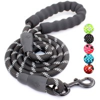 Dog Leash with Comfortable Padded Handle and Highly Reflective Threads Dog Leashes for Medium and Large Dogs -Black