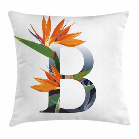 Letter B Throw Pillow Cushion Cover, Letter B with Bird of Paradise Flower Alphabet Character Font Design Print, Decorative Square Accent Pillow Case, 16 X 16 Inches, Orange Green Grey,