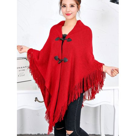 LELINTA Women Knit Batwing Top Tassel Poncho Cape Wrap Cardigan Coat Sweater Jacket Irregular Hem Outwear Collar Cotton Women Poncho