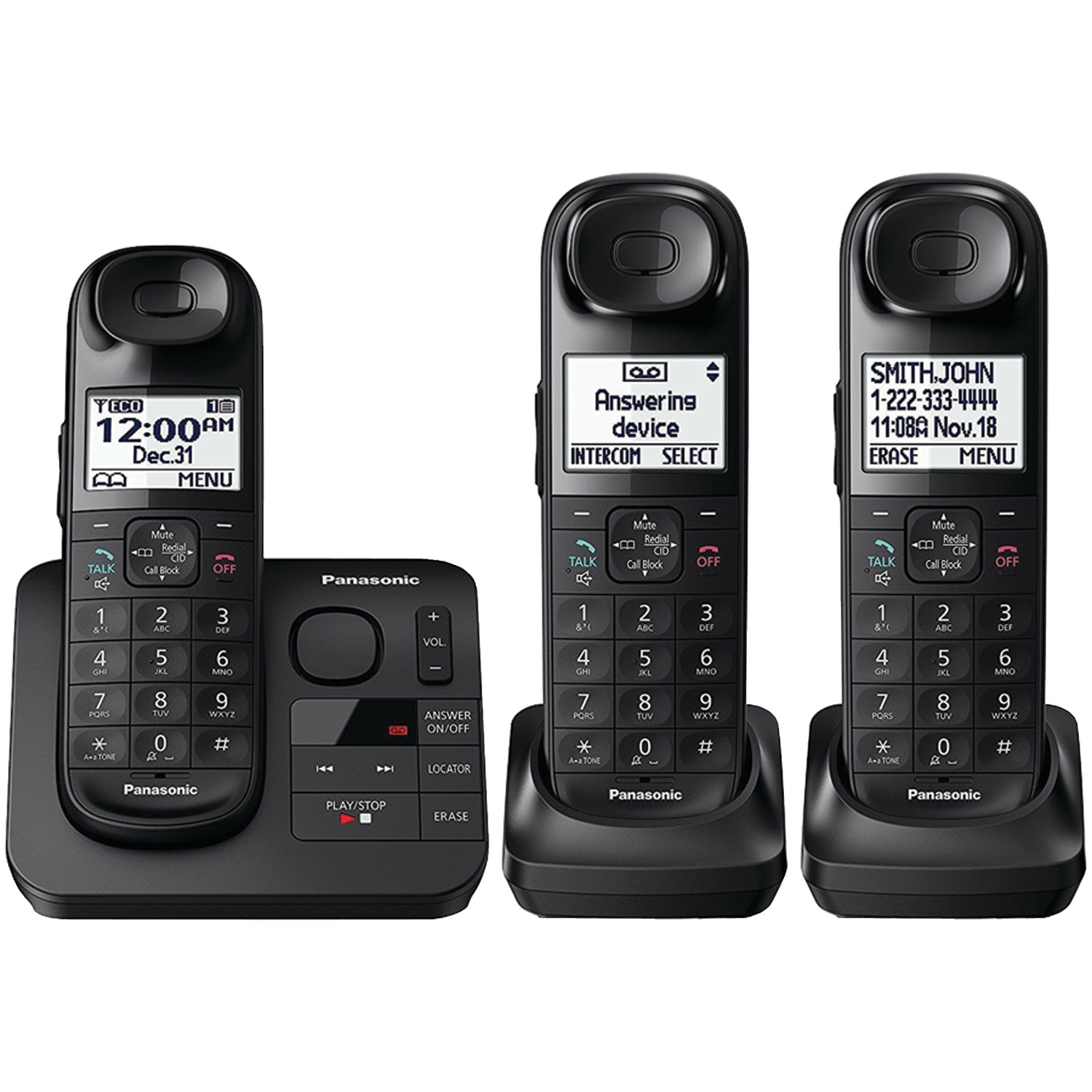 Panasonic Expandable Cordless Phone with Comfort Shoulder Grip and Answering Machine, 3 Handsets
