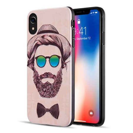 Insten 3D Embossed Printing Beard Guy Dual Layer Hybrid PC/TPU Rubber Case Cover For Apple iPhone (Best Choke For Winchester Long Beard Xr)