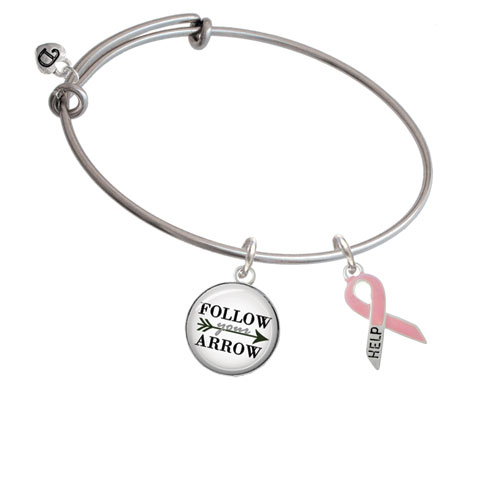 Pink Ribbon ''Help'' Follow Your Arrow Bangle Bracelet