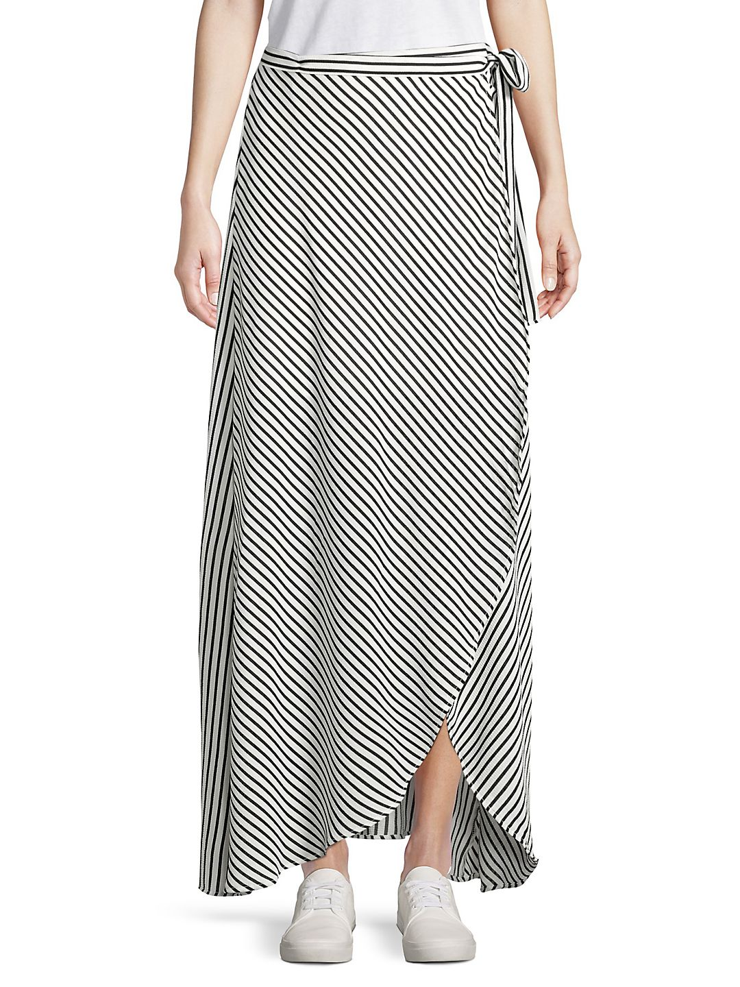 Striped Tie-Front Wrap Skirt