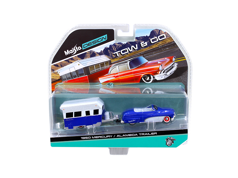 1950 Mercury with Alameda Trailer Blue   White Tow & Go 1 64 Diecast Model by Maisto by Diecast Dropshipper