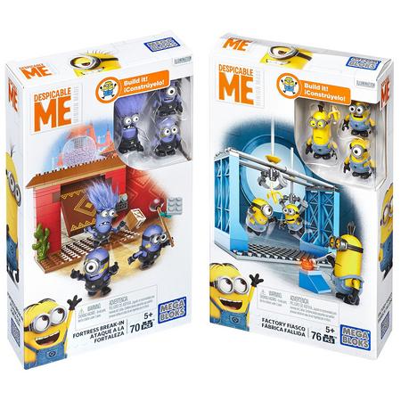 Despicable Me Minions Mega Bloks Figure Fortress Break-In + Factory Fiasco Building Block Deluxe Movie Merchandise Toy Playset (Collector 2-Pk Set) - Minions Merchandise