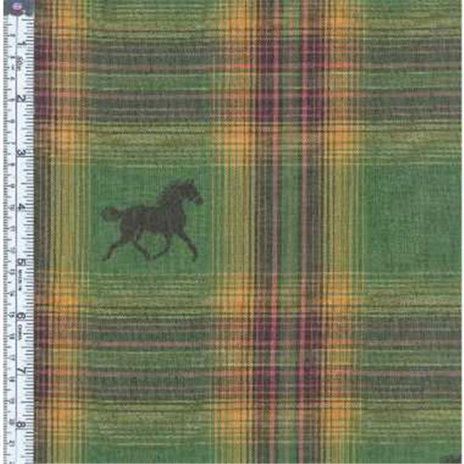 Textile Creations MT-162 Mustang Fabric, Horse Black On Green Gold, Rust Plaid, 15 yd.