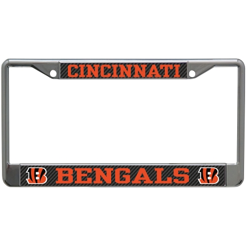 Cincinnati Bengals Carbon Small Over Large Metal Acrylic Cut License Plate Frame - No Size