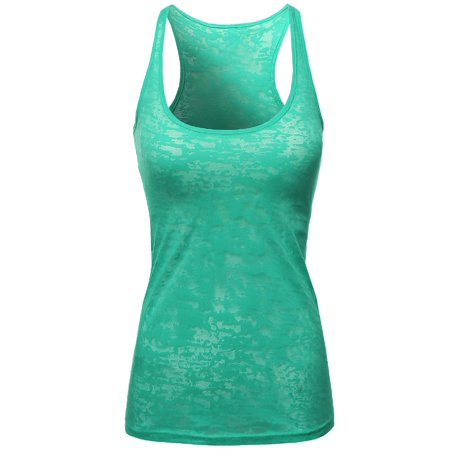 FashionOutfit Women's Basic Solid Burn Out Racerback Tank