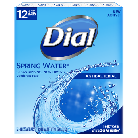 Dial Antibacterial Deodorant Bar Soap, Spring Water, 4 Ounce Bars, 12 (Best Antibacterial Bath Soap)