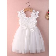 Kid Baby Girl Sleeveless Lace Kids Toddler Tulle Party Wedding Dress Princess