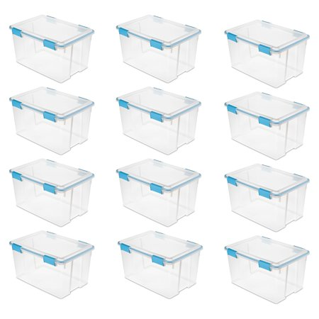 Sterilite 54 Quart Gasket Box in Clear with Blue Latches, 12 Pack | 19344304 - image 1 de 1