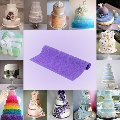 "Click here to buy DIY 15"" Lace Silicone Mold Mould Sugar Craft Fondant Mat Cake Decorating Baking."