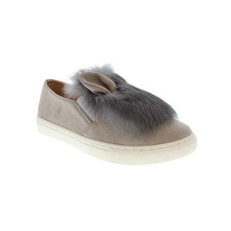 Moca Furry-24 Women Faux Suede Furry Bunny ear Slip On sneakers, GREY 6 F - Gray Bunny Ears