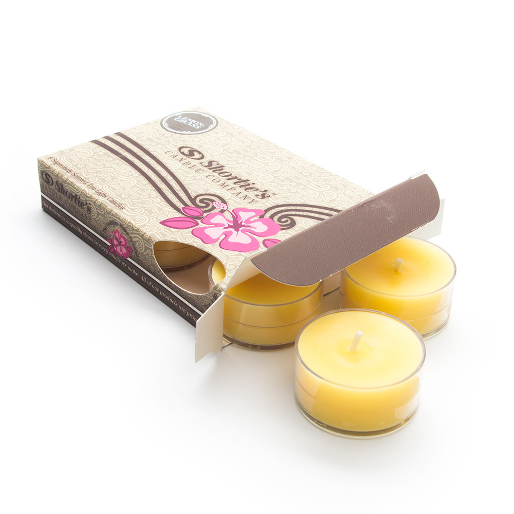 Lemongrass Yellow Tea Light Candles 6 Pack - Highly Scented, Hand Poured, & Clean Burning - Clear Container for Beautiful Candlelight - Clean Tealights Collection