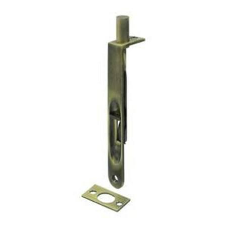 6 in. Heavy Duty Flush Bolt Round, Antique Brass - Solid Brass