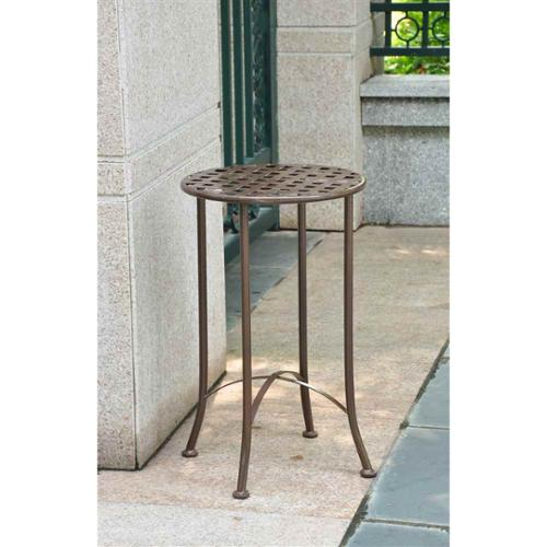 16 in. Iron Patio Side Table (Brown)