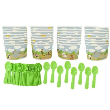 Safari Animal Ice Cream Cups and Spoons 32 Pack](Ice Cream Cups Paper)