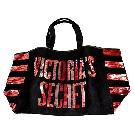 Victoria's Secret Black Canvas and Sequin Large Tote Bag with Zipper ()