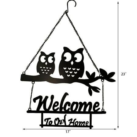 Vintage Metal Owls Welcome Door Sign Living Room Garden Porch Wall Art Decoration 23 H Walmart Com Walmart Com