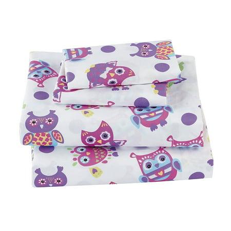 White Owl Girl (Fancy Linen 3pc Twin Size Sheet Set Teens /Girls Owl White Purple Pink)