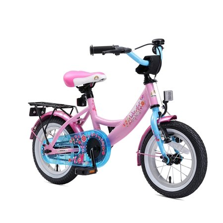BIKESTAR Original Premium Safety Sport Kids Bike Bicycle with sidestand and Accessories for Age 3 Year Old Children | 12 Inch Classic Edition for Girls/Boys | Flamingo Blue &