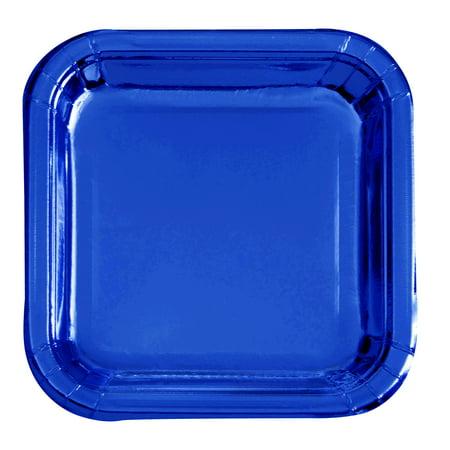 Square Paper Plates, 9.25 in, Cobalt Blue Foil, 8ct ()