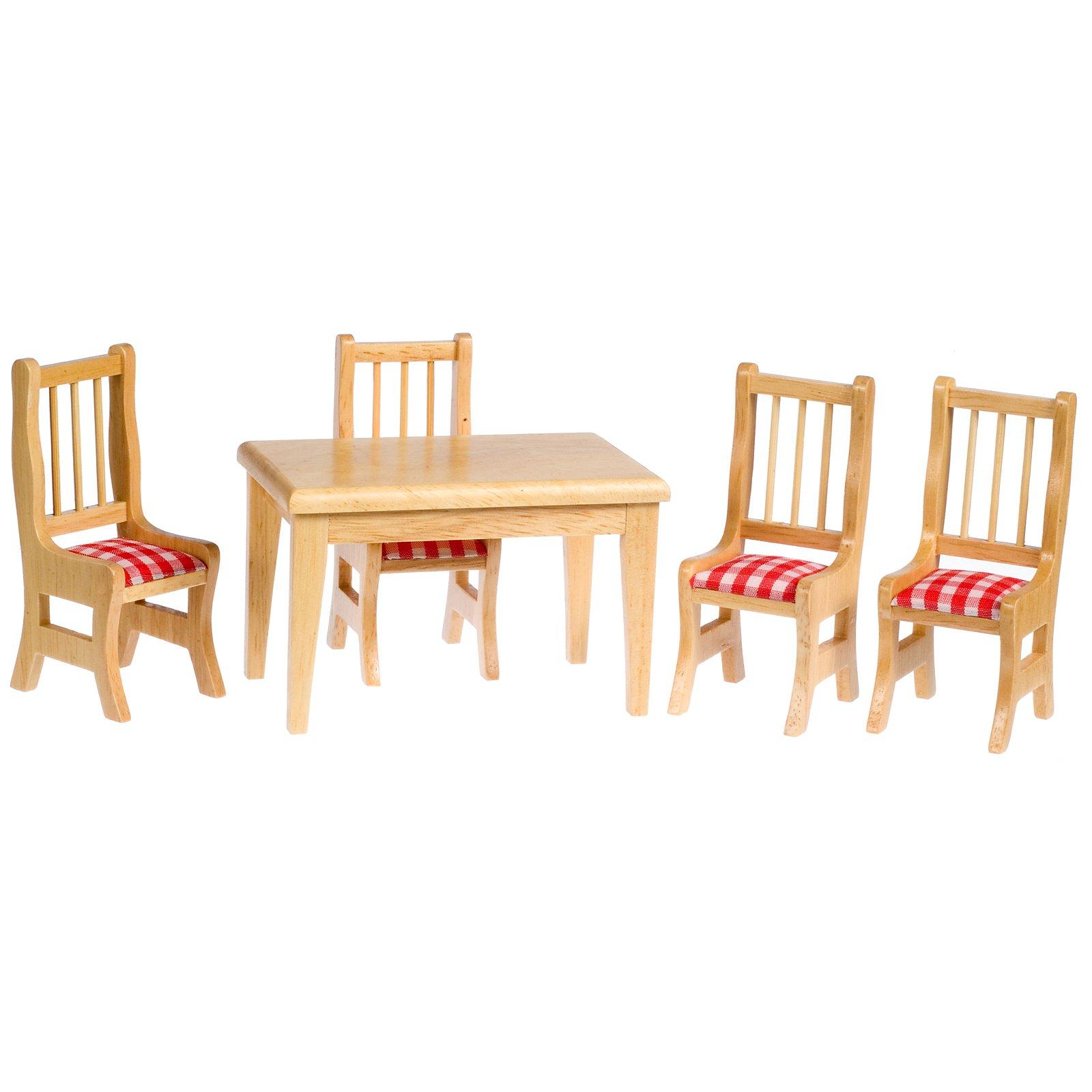 Oak Dining Dollhouse Miniature Set with Cushions