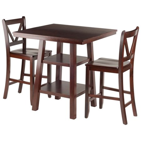 - Pemberly Row 3 Piece Square Counter Height Dining Set in Walnut