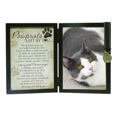 Pawprints Left By You Memorial 5x7 Photo Frame for Cat with Pet (Cat Frames Online)