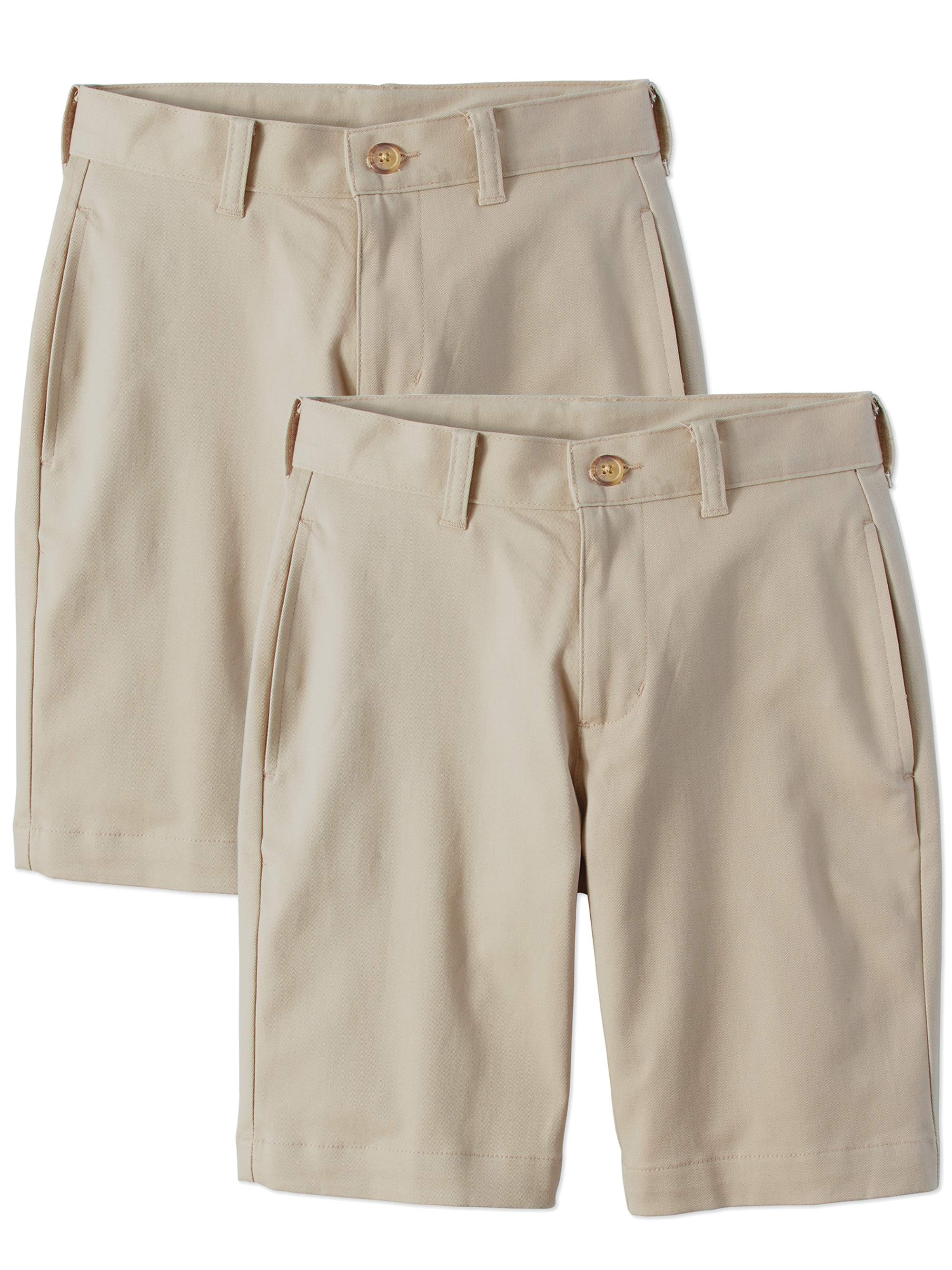 Boys School Uniform Super Soft Flat Front Shorts, 2-Pack Value Bundle