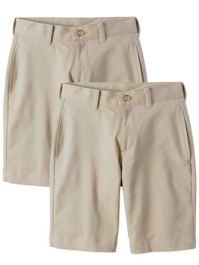 Wonder Nation Boys 4-16 School Uniform Super Soft Flat Front Shorts, 2-Pack Value Bundle