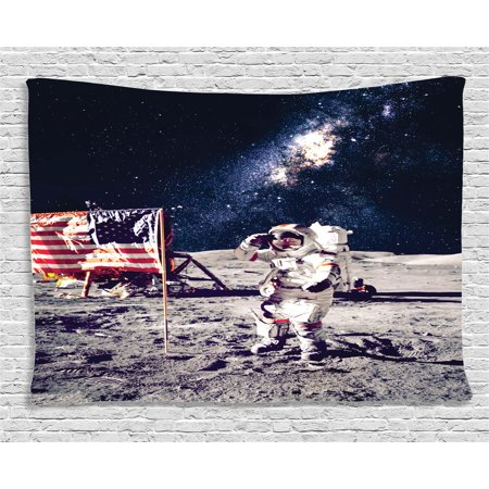 Outer Space Decor Tapestry, American Spaceman on Moon Future Solar Discovery in Deep Technology View, Wall Hanging for Bedroom Living Room Dorm Decor, 60W X 40L Inches, Blue Grey, by Ambesonne - Outer Space Decor