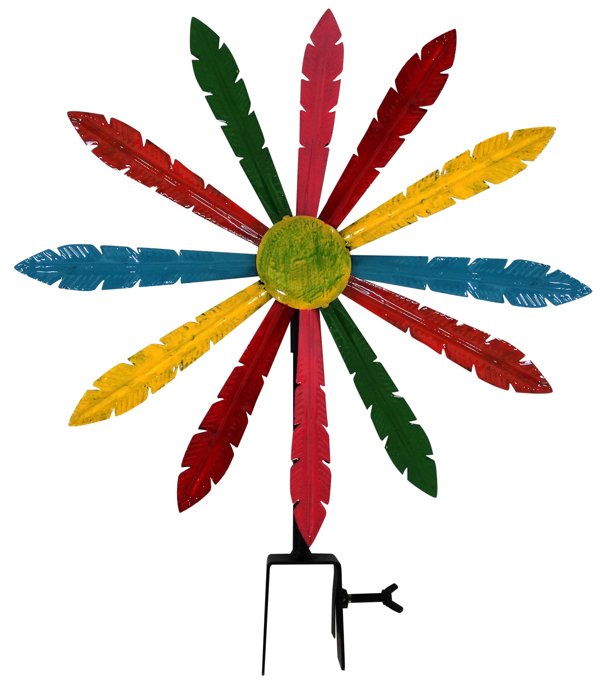 Multi-Color Metal Windmill With Stake & Fence Topper by Benzara