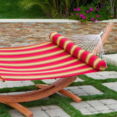 Red Star Traders Outdoor Cantina Striped Polyspun Hammock, Red