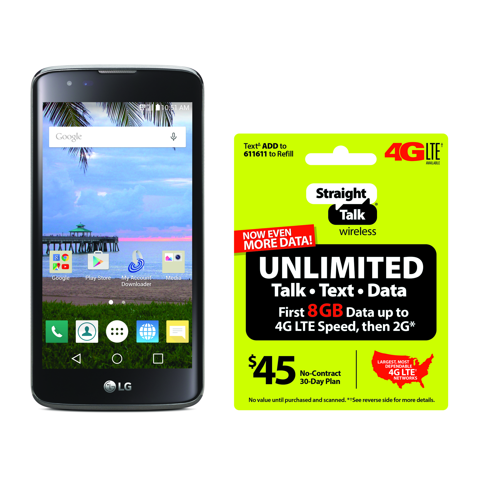 Refurbished Straight Talk LG Treasure 4G Android Prepaid Smartphone with BONUS $45/30-Day Plan