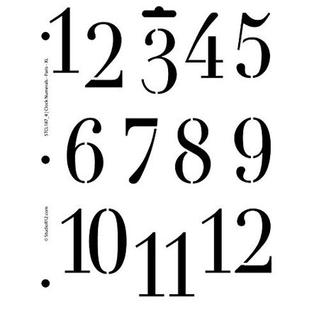 Clock Numerals Stencil by StudioR12 | Paris Style Number Art - Medium 8.5 x 11-inch Reusable Mylar Template | Painting, Chalk, Mixed Media | Use for Crafting, DIY Home Decor - STCL187_4 - Clock Craft