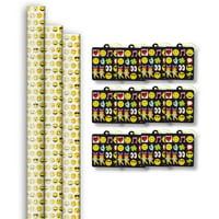 Jillson & Roberts Premium Gift Wrap Roll & Gift Tag Assortment, Emoji Designs (3 Rolls & 12 Tags)