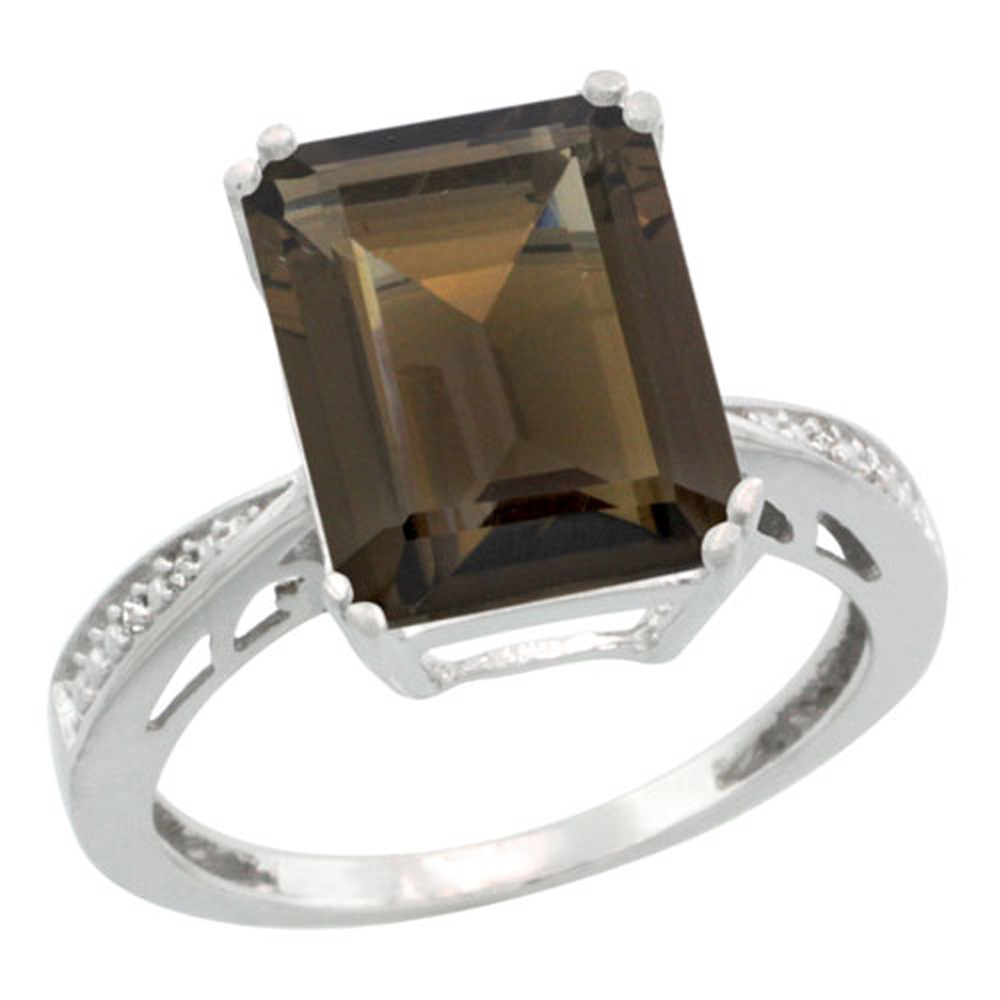 Sterling Silver Diamond Natural Smoky Topaz Ring Emerald-cut 12x10mm, 1/2 inch wide, sizes 5-10