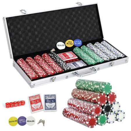 ZENY 500 Poker Chip Set 11.5 Gram Dice Style Clay Casino Poker Chips w/Aluminum Case, Cards, Dices, Blind Button for for Texas Holdem, Blackjack, Gambling - Casino Style