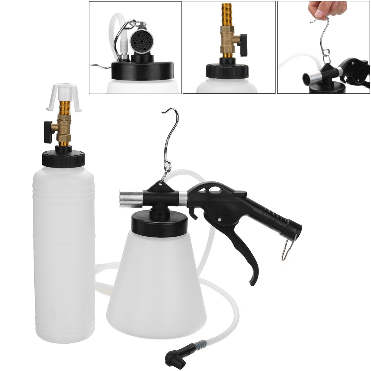 Pneumatic Brake Fluid Bleeder Kit Car Air Extractor Vacuum Clutch Oil Bottle