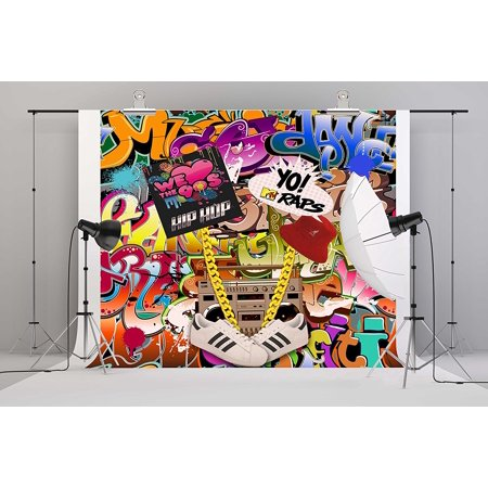 HelloDecor Polyster 7x5ft 90th Photography Backdrop Hip Hop 90's Party Decoration Photo Booth Props