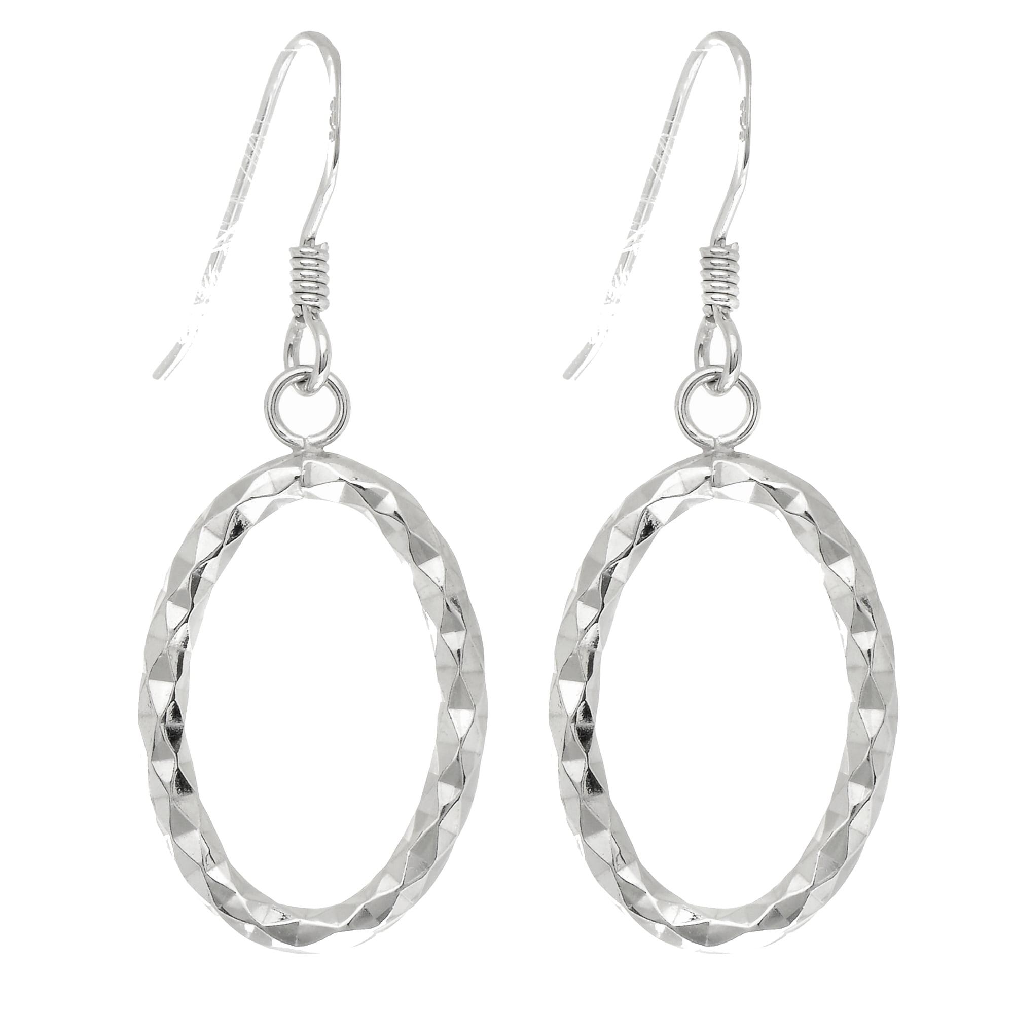 Sterling Silver Rhodium Finish Fancy Oval Dangle Earrings - 32.5 x 12 mm