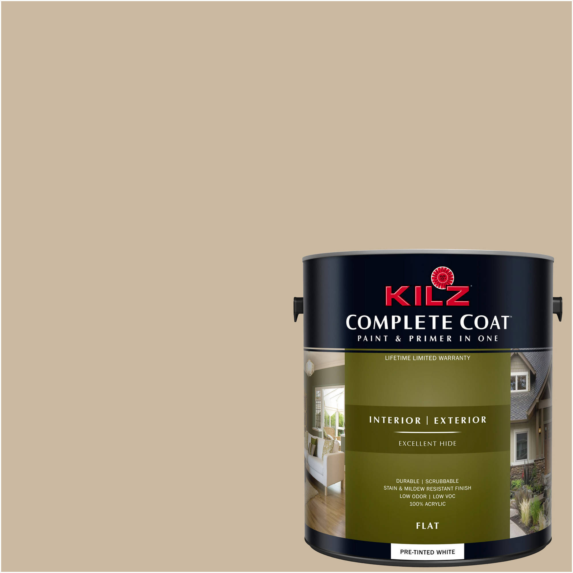 KILZ COMPLETE COAT Interior/Exterior Paint & Primer in One #LK140 Ranch House,  1 gal,  Flat