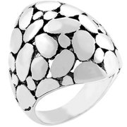 Sunrise Wholesale J3045 White Gold Jewelry Bonded with Black Jewelers Rhodium Cobblestone Ring 2 - Size 06