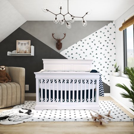Bebelelo - 5 pieces bedding for baby – navy blue and white with a Zigzag pattern - image 1 de 9
